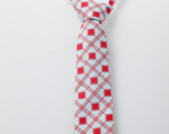 Baby Necktie - Blue with Red Detail