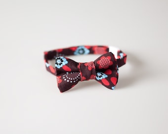 Little Boy Bow Tie - Brown with Blue and Red Floral