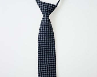 Little Boy Tie - Black and Gray Houndstooth