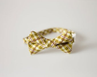 Baby Bow Tie - Green Plaid with Purple Detail