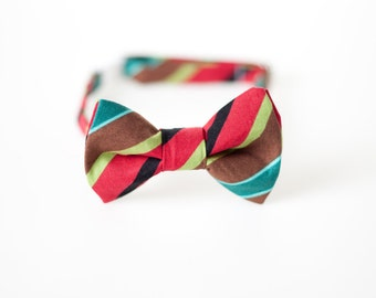 Boys Bowtie - Wide Brown Stripes