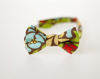 Toddler Bowtie - Blue and Green Floral