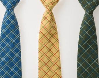 Boys Ties - Blue, Yellow, or Green Plaid
