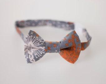 Boys Bow Tie - Gray and Orange
