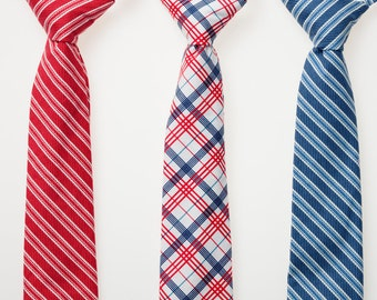Boys Necktie - Red, White, and Blue - Choose One