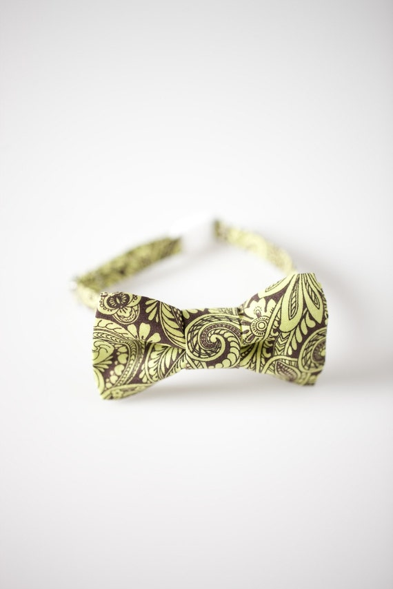 Toddler Bowtie - Brown with Green Paisley