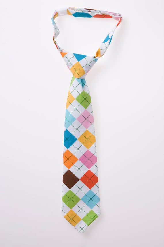 Boys Necktie - Multi-Colored Argyle