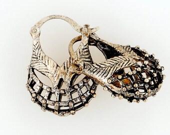 ethnic silver basket EARRINGS