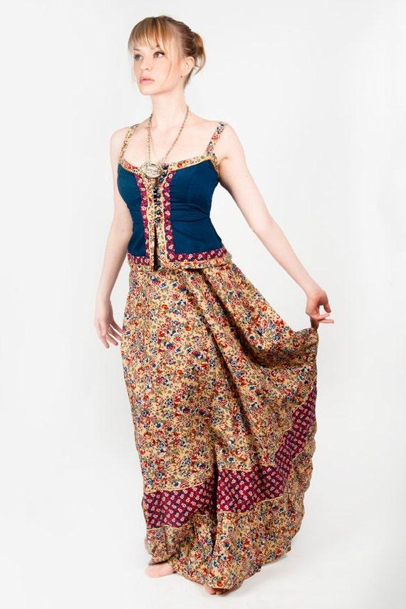 GUNNE SAX DReSS Yellow n blue floral corset long festival renaissance maxi prairie