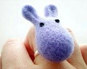 Lavender Felt Bunny Ring - Needle Felted Cute Animal Rabbit Ring