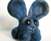 Morgan The Blue Rabbit - Needle Felted Blue-Grey Blend Bunny