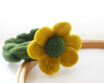 Yellow Flower Bracelet - Needle Felted Flower Bangle
