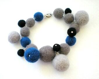 Felt Charm Bracelet -  Felt Ball Jewellery - Royal Blue, Grey & Black