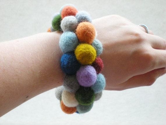 Needle Felted Ball Bangle