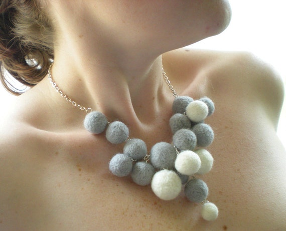 Grey & White Necklace - Sculptural Needle Felted Ball Necklace