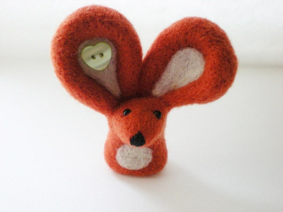 Orange Felt Mouse - Needle Felted Sculpture