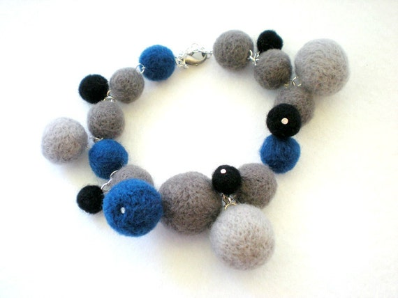 Felt Charm Bracelet -  Felt Ball Jewellery - Royal Blue, Grey & Black