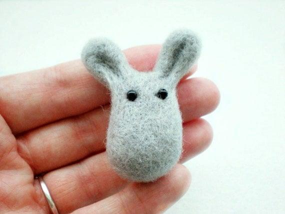 Grey Bunny Brooch - Needle Felted Rabbit Jewellery Pin