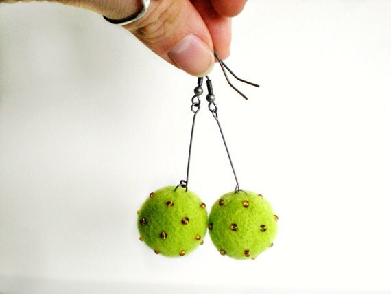 Lime Felt Earrings - Needle Felted Ball Earrings with Amber Beads