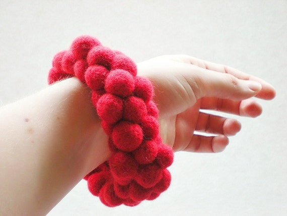Needle Felted Ball Bangle - Red