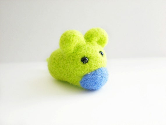 Green Felt Mouse - Needle Felted Lime Green Small Animal Sculpture