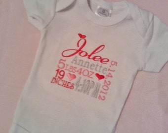 Embroidered Birth Announcement Onesie, Custom