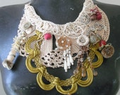Romantic ,Bib necklace,steampunk, Bohemian Gypsy, COllaGE, Vintage lace,  Boho Jewelry