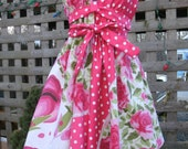 tea dress   pink polka dot  vintage fabric can be worn 3 ways