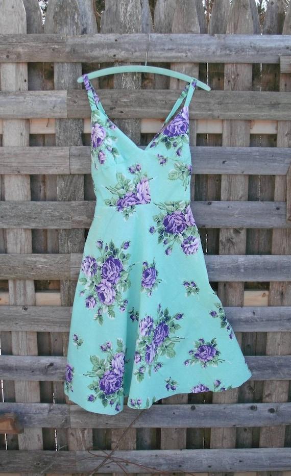 Halter dress BoHO HiPPie styLE Aqua floral