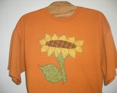 Applique Sunflower on Rust Tshirt, Plus Size, Free Shipping, Easter Gift, Garden, Flower, Nature, Plus Size Clothing, Springtime, Summer