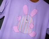 Applique Easter Egg Bunny on Lavender Tshirt, Plus Size, Free Shipping, Ready-to-Ship