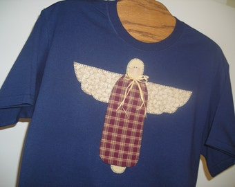 Applique Garden Angel Navy Tshirt, Sizes S-5X, Plus Size Clothing, Free Shipping, Easter Gift