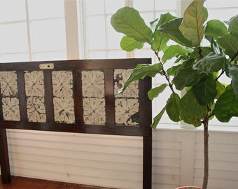 King Sized Headboard Made From Old Door with Floral Ceiling Tin