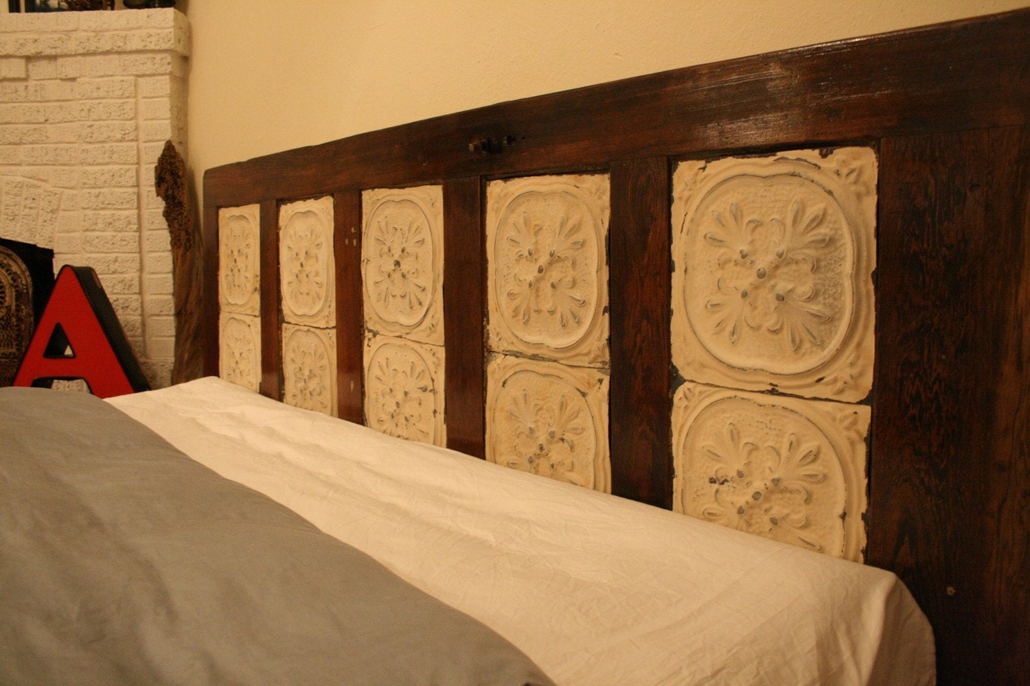 Antique King Sized Headboard Made From Old Door And Ceiling