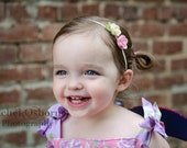 Small Felt Flowers Headband - Design Your Own Flower Headband - OVER 30 COLORS - newborn, infant, toddler, tween, teen, adult- Party Favors