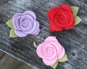 Baby Hair Clip, Felt Flower Hair Clips for baby, infant, toddler tween teen adult, 2 SIZES available - OVER 30 COLORS to choose from