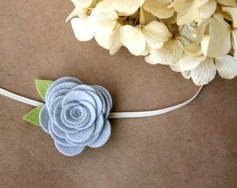 Large Silver Grey/Gray Flower Skinny Headband for newborn, infant, toddler, tween, teen, adult - Newborn photo prop headband