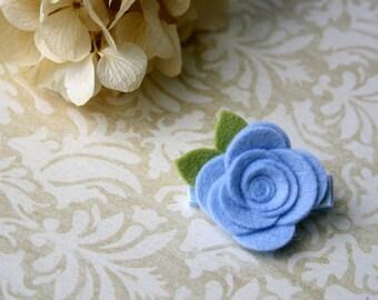 Felt Flower Hair Clip for baby, Baby Hair Clip, infant, toddler hair clip, tween, teen, adult - Blue Hair Clippie - OVER 20 COLORS