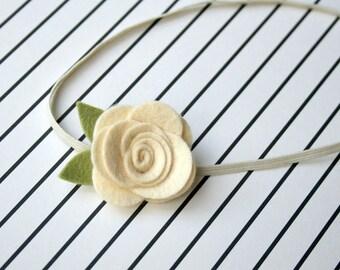 Ivory Flower Headband for baby - Ivory felt flower headband for newborn, infant, toddler, tween, teen, adult headband - photography prop