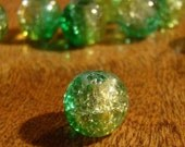 Green/Yellow Bicolor 8mm Round Glass Crackle Beads (20)