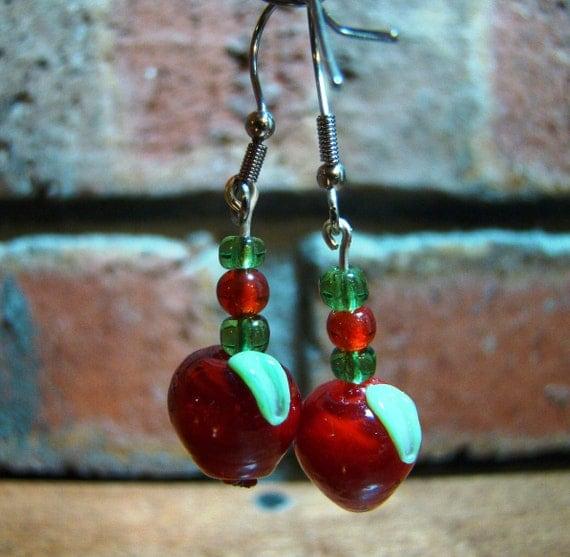 Lampwork Apple Dangle Earrings