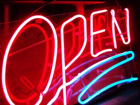 Vintage Industrial Neon Light Open Sign