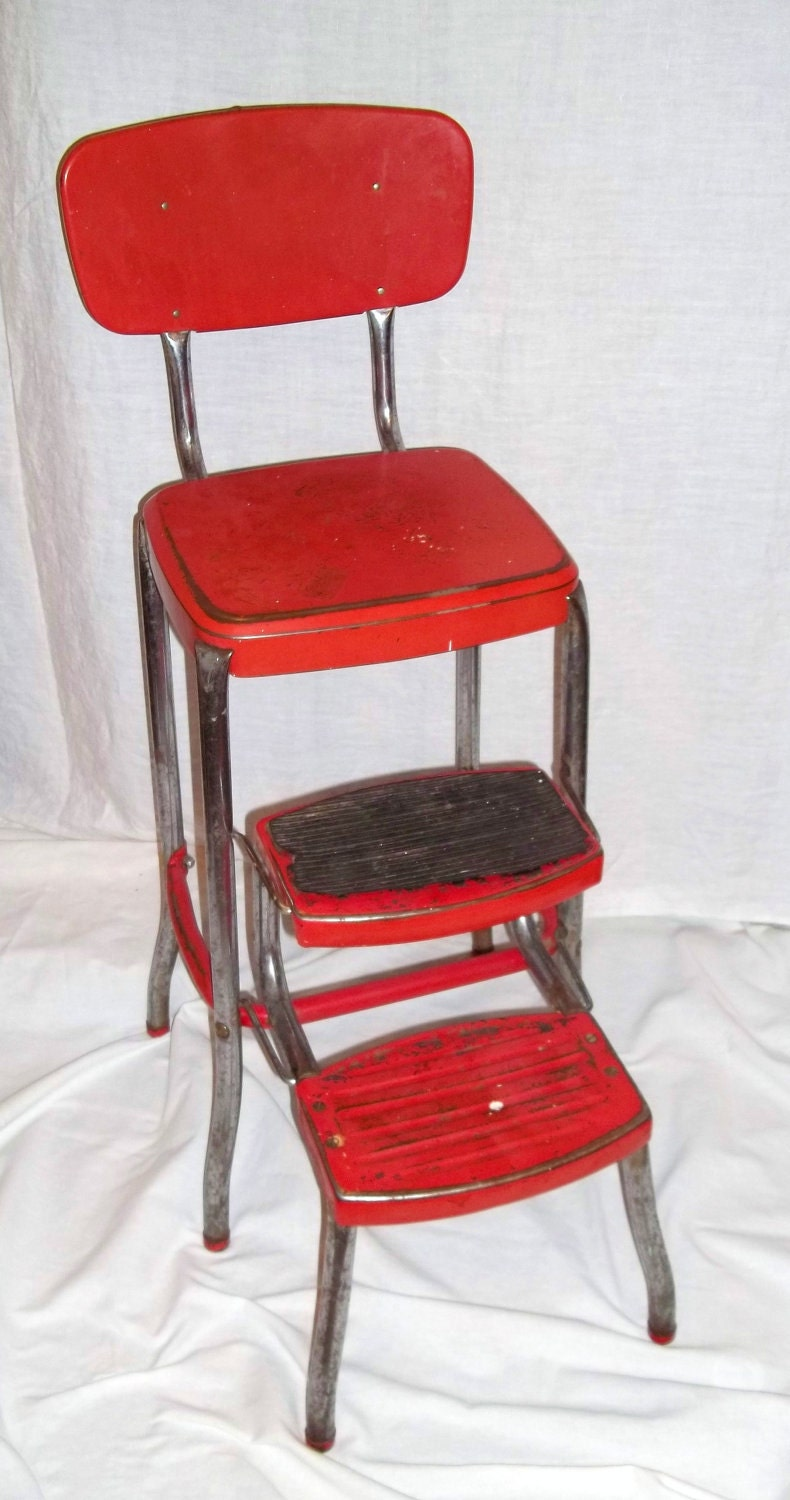 L950 39 S Vintage Stylaire Cosco Folding Stool In Red By