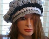 crochet newsboy hat in 3 colors