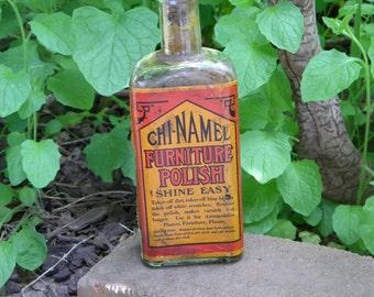 Vintage Furniture polish bottle, Cleveland, Ohio. Collectible bottles cork top bottle