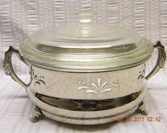 Pyrex Serving bowl with Ram Head Handle Cradle or trivet server