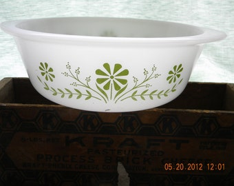 Vintage Glasbake bowl green flowers