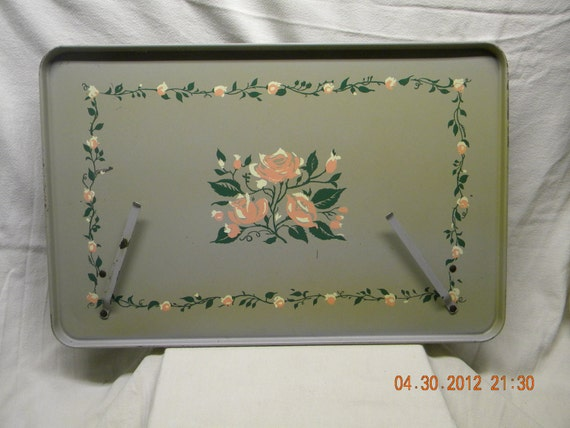SALE...Floral bed tray hospital bed tray 1950s