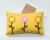 Button Circle Flower Trio wool felt decorative nursery pillow . Your choice of wool felt color . by Enchanted Felts on Etsy . Shabby chic