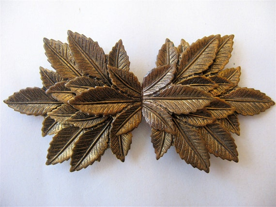 Vintage 1950's Brass Leaves Dress Clips
